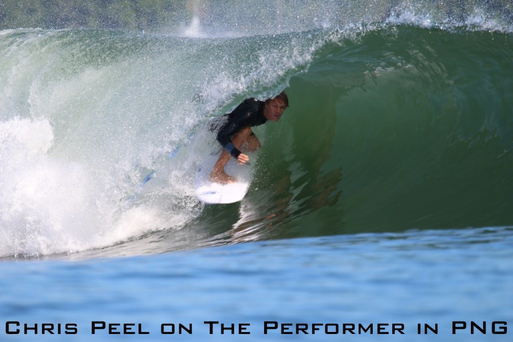 Chris Peel on The Performer in PNG with label