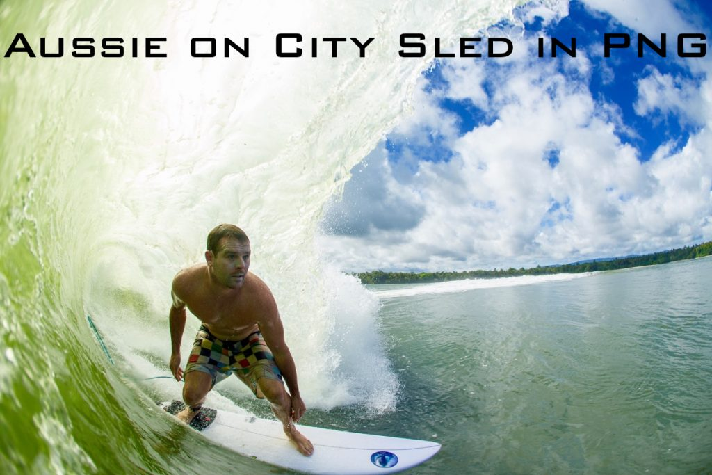 Aussie on City Sled in PNG