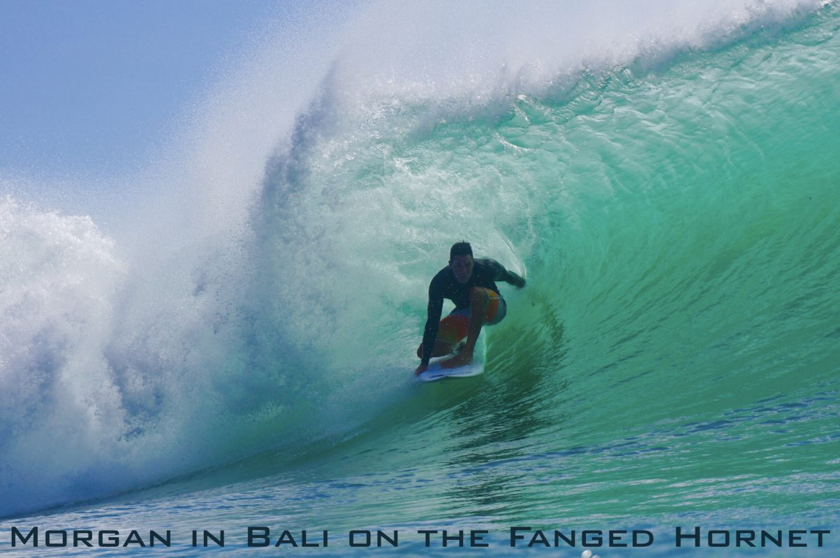 Morgan in Bali on the Fanged Hornet